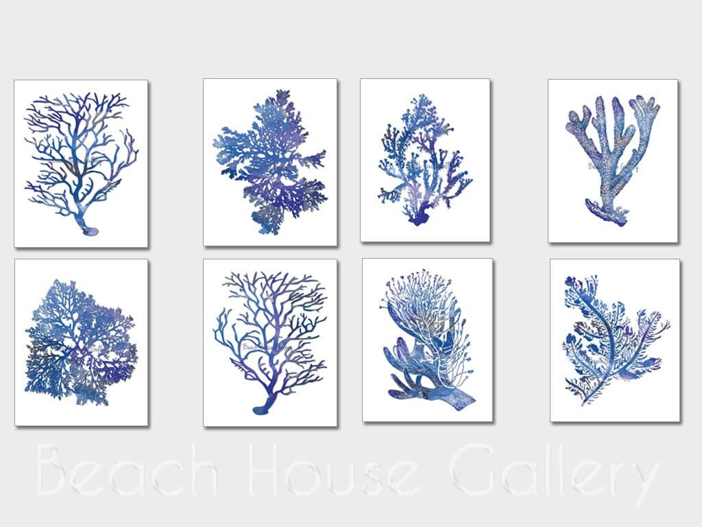Indigo Blue Coral Prints Blue Sea Coral Print Set Of Eight