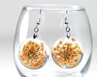 SALE!! Orange Flower Resin Earrings, Orange Flower Resin Jewelry, Queen Anne's Lace Earrings, Resin Flower Earrings, Resin Flower Jewelry