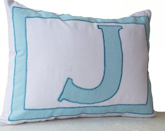 Monogram Pillows -Personalized White Blue letter pillow cover- Alphabet throw pillow- Customized letter cushions- Cotton pillow- Gift- 12x16