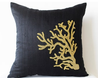 Premium Decorative Throw Pillow Cover- Pure Black Silk Gold Coral Pillowcase- Gold Coral -Gift -Oceanic Pillows -16X16-Couch Cushion Cover