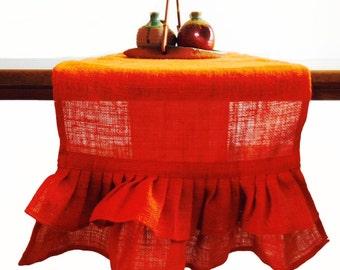 Orange Ruffled Burlap Table Runner -Ruffled Runner -Natural Ruffles Runner -Thanksgiving -Table -Autumn -Dining -Entertaining -Party -Gift