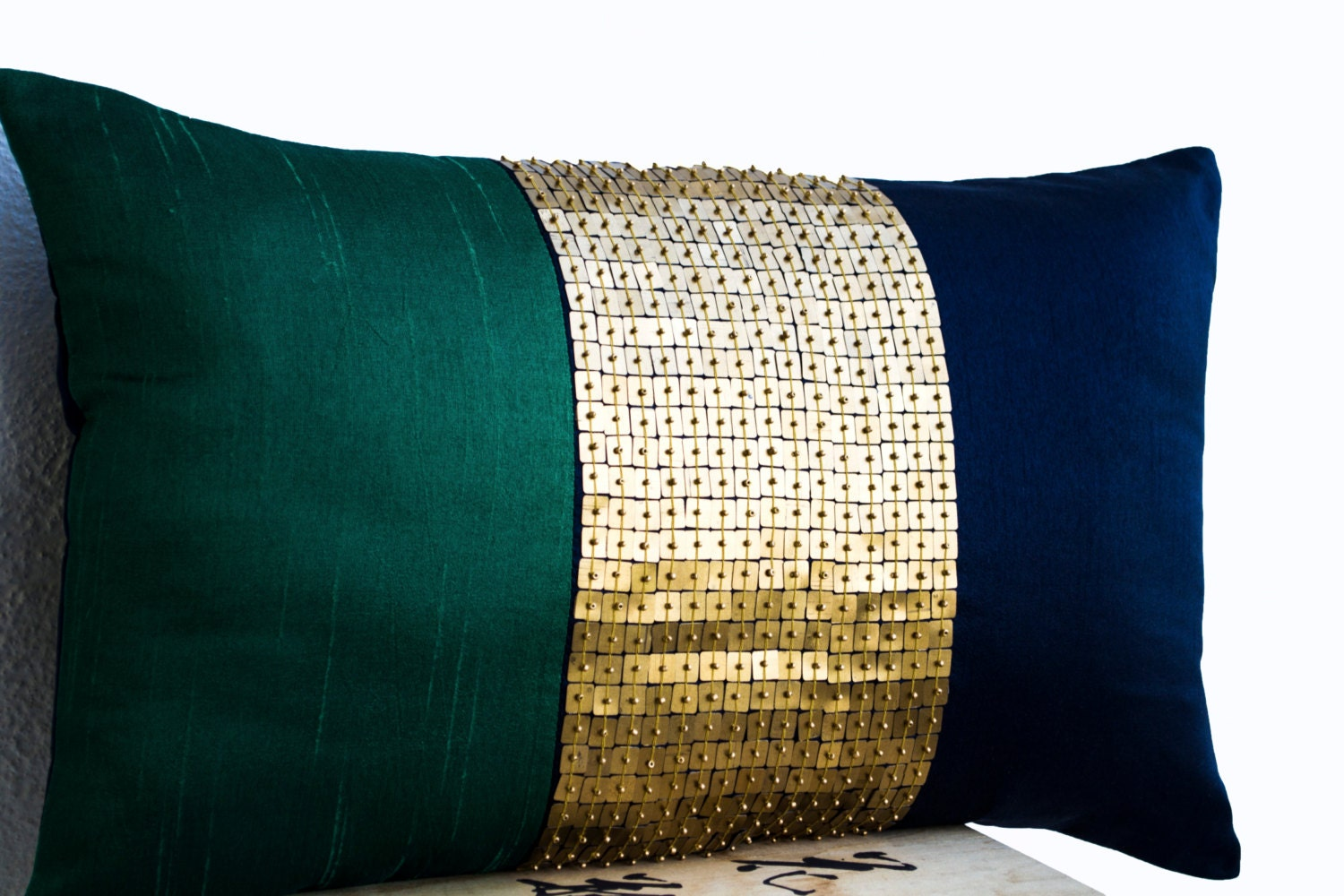 Beaded Throw Pillow Cover Emerald green navy blue gold color