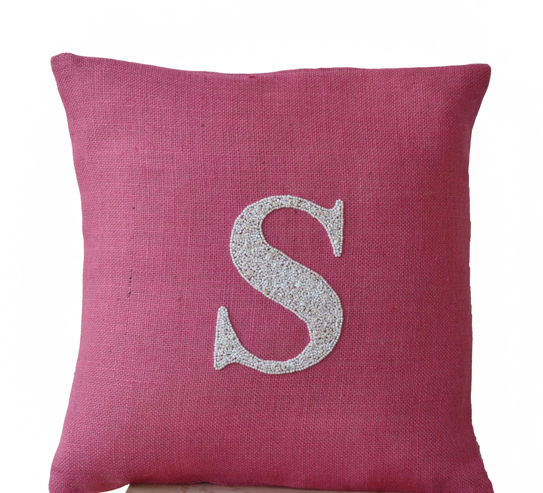 Monogram A Pillow: Dorm Pillow Pink Burlap Monogram Pillow Customized Sequin