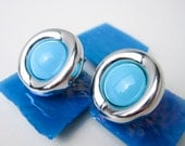 Large 1970s Genuine Turquoise Earrings, 14K White Gold, Modernist Design, Signed M.F.J. Italy.