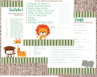 Baby Shower Game Pack {Jungle Theme}