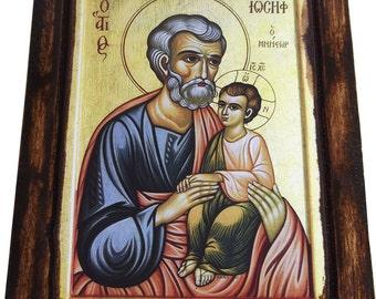 SAINT ST. JOSEPH - Orthodox Byzantine icon on wood handmade (22.5 cm x 17 cm)