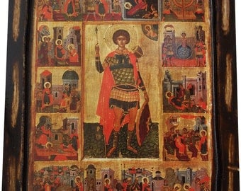 Saint St. George - With Scenes from His Life - Orthodox icon on wood handmade (22.5 cm x 17 cm)