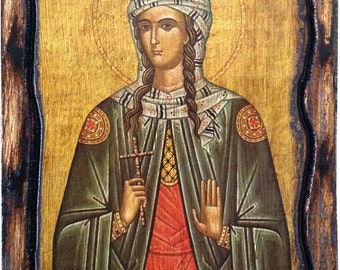 Saint St. Photina - Orthodox Byzantine icon on wood handmade (22.5cm x 17cm)