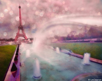 "Paris Photography - Eiffel Tower at sunset, pink and purple, Europe, romantic, love, Paris wall decor,  Paris wall art - ""Paris is Magical"""