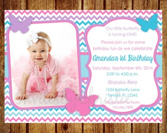 Pink, Purple and Teal Photo Birthday Invitation- Digital File- DIY Printable Butterfly Invitation, 1st, 2nd, 3rd, 4th, 5th, 6th, 7th, 8th