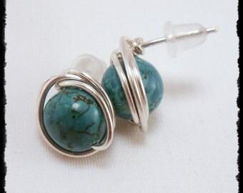 Magnesite Stud Earrings, Turquoise Stud Earrings, Wire Wrapped Post Earrings