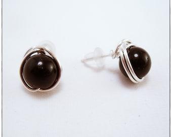 Black Obsidian Gemstone Stud Earrings, Wire Wrapped Post Earrings