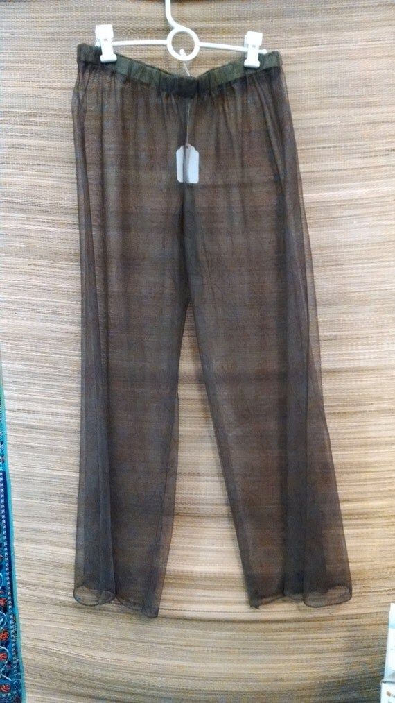 Beach Cover-up Pants Sheer Brown and Green