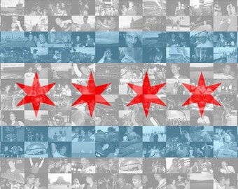 Chicago City Flag Photo Mosaic Print - Custom Personalized Photo Collage Wall Art