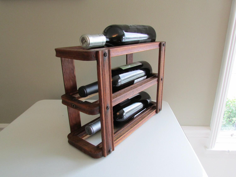 Small Wood Wine Rack Vintage Sewing Machine Drawer Holder