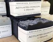 Activated Charcoal + Fennel, All Natural Soap, Handcrafted Soap Bars