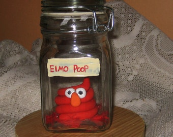 Elmo Poop in a Jar/ Sesame Street /Specimen Jar for Alchemy Wizardry Fantasy Geekery The Labyrinth Voodoo Zombie, Fairy, Oddities Shelf