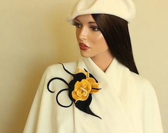 Yellow felt brooch, Black  yellow felted brooch Fancy flower felted brooch, wool merino, ready to ship