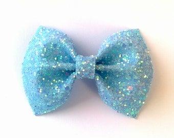 Mini Pastel Blue Glitter Bow / Pastel Blue Glitter Bow / Glitter Fabric Bow / Headband / Sparkly Hair Clip / Bow Hair Clip