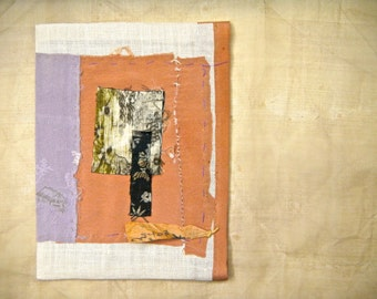 Book Pouch or Purse, Appliqued, Collaged and Hand Sewn - Linen and Silk Hand Sewn Book Pouch/Cover, Art Piece