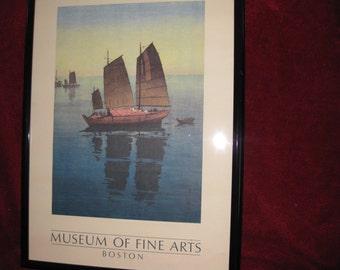 "MUSEUM Of FINE ARTS-Boston Framed Vintage Art Poster In Black Poster Frame  29"" x 21"""