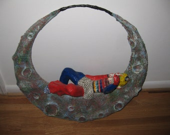 """PAPER MACHE CLOWN Laying On The Moon From The Play Paganini Large Vintage Art 23"""" x 24"""""""