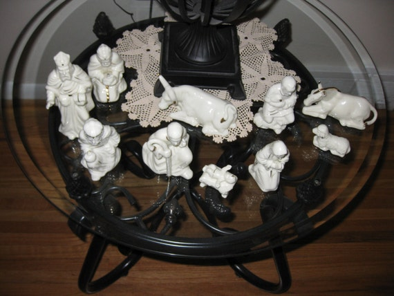 10 PIECE NATIVITY SET-White with Gold Trim by framedvintageart