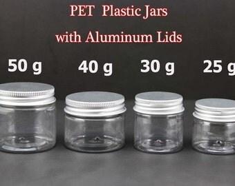 Freeshipping -  Pack of 10 - Empty PET Plastic Jars with Aluminum Screw Lids  25g 30g 40g 50g