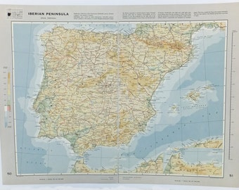 Map of Spain and Portugal, Large Vintage Map of Iberian Peninsula, travel souvenir, Spanish Map, Portugal Map