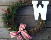 Rustic Christmas Wreath with Burlap Bow and Greenery