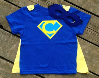 Personalized Superhero T-Shirt with Detachable Satin Cape and Reversible Mask, Kids Super Hero Apparel or Costume