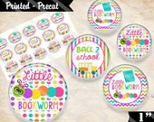 """Printed Precut: LITTLE BOOKWORM Back To School 2313 - 1"""" Bottle Cap Cameo Bow Magnet Craft Images (4x6)"""
