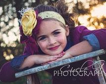 Child Headband Made to Match Matilda Jane Clothing Line  Flower Lace Feathers and Rhinestones