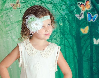 Mint Green and White Flowers Lace and Rhinestones