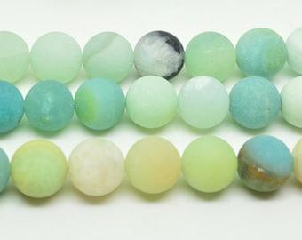 """16""""   Natural   Matte  Amazonite   Round   Bead--  8mm"""