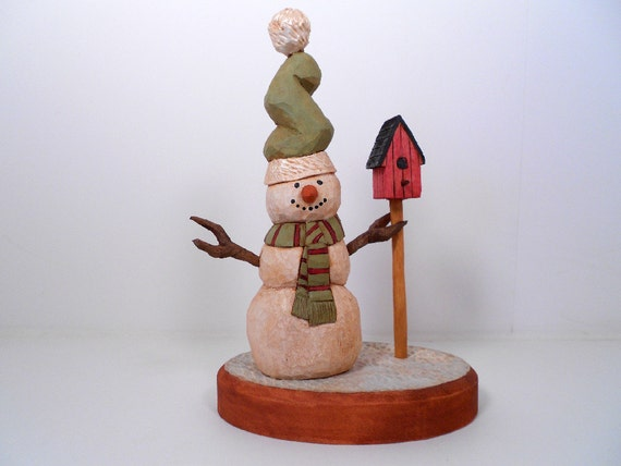 Hand Carved Wooden Snowman Collectible Christmas Decoration
