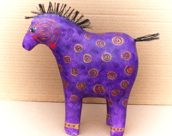 Amethyst  Paper Mache Primitive Horse Sculpture