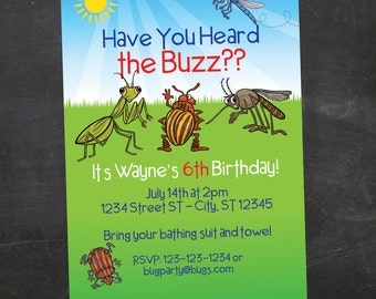 Have you Heard the Buzz - Bug/Insect Birthday Invite - Custom Printable