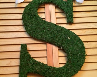 "18"" SPRING Moss Monogram, Wedding   Monogram, Elegant Fall Wreath"
