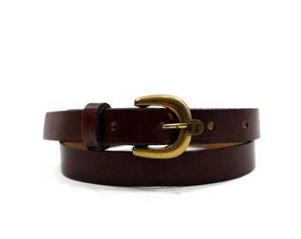 Etienne Aigner skinny oxblood leather belt XS