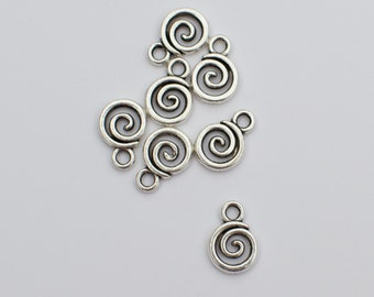 16 Pieces Tiny Swirl Honey Bun Charm, Small Drop chars,  6mm Antique Silver Finish 5-9-AS