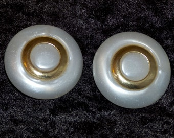 Large Plastic/Pearlescent Clip On Earrings - 1980s