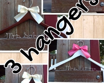 THREE wedding hangers / SHIPS From USA  / Personalized Wedding Hanger / Brides Hanger