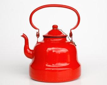 Vintage Red Enamel Teapot / Kettle / 70s Yugoslavia