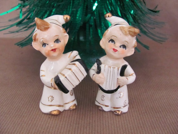 Vintage Christmas Elves, 1960's Small Pixie Elves, Christmas Elf Figurines, Christmas Decor, Mid Century