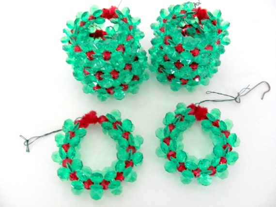 Vintage Christmas Ornaments 1970's Handmade Beaded