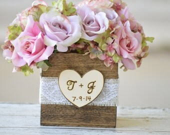 rustic wedding centerpiece,  burlap and lace wedding centerpiece, country table setting, rustic home decor