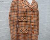 Jacket size 14 wool jacket windsmoor 60s clothes orange jacket ladies vtg clothing checked jacket wool 60s clothing gift jacket vintage boho