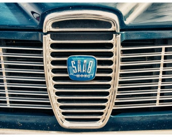 Car Parts Photography, Vintage Saab Grille, Metallic Photographic Print