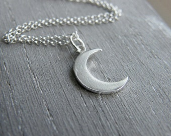 Crescent Moon Necklace, Moon Necklace, Sterling Silver Moon necklace, Silver Crescent Necklace, Delicate Moon Necklace, Crescent Necklace